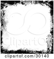 Clipart Illustration Of A Grunge Black Border Of Dots And Marks Over White