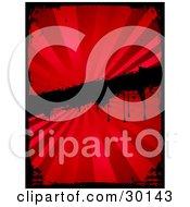 Clipart Illustration Of A Black Grunge Border And Bar Over A Red Background Of Light Rays