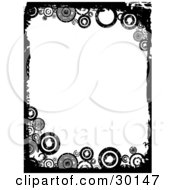 Clipart Illustration Of A Vertical Background Of White Framed By Black Grunge And Circles