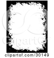 Black Frame Of Grunge Marks And Splatters Around A White Vertical Background