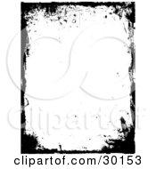 Clipart Illustration Of A Black Grunge Frame Bordering A White Vertical Background