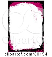 Clipart Illustration Of A Magenta And Black Grunge Border Around A Blank White Stationery Background