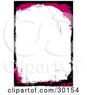 Magenta And Black Grunge Border Around A Blank White Stationery Background