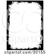 Vertical White Background Framed In Black Grunge Marks