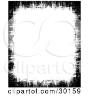 Clipart Illustration Of A Border Of Black Textured Grunge On A White Vertical Background