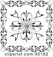 Clipart Illustration Of A Black And White Tattoo Design Bordered With Other Designs
