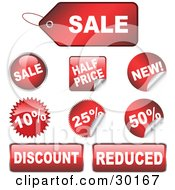Set Of 9 Red Sale Half Price New Discount And Reduced Retail Tags Buttons And Stickers