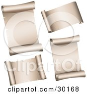 Clipart Illustration Of A Set Of Four Blank Parchment Paper Scrolls