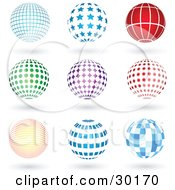 Clipart Illustration Of A Set Of 9 Blue Red Green And Purple Grid Star Lined Spotted Burst And Square Patterned Sphere Logo Icons With Shadows by KJ Pargeter