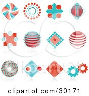 Clipart Illustration Of A Set Of 12 Red And Blue Spiral Diamond Globe And Gear Logo Icons Over Reflective Surfaces by KJ Pargeter