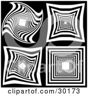 Clipart Illustration Of A Set Of Four Black And White Spiral Repeat And Twisting Designs