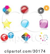 Clipart Illustration Of A Set Of Nine Colorful Pixelated Burst Cogs Stars Squares And Spiral Logo Icon Designs With Reflective Shadows