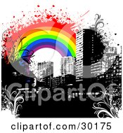 Clipart Illustration Of A Black City Skyline With Floral Grunge And A Colorful Rainbow