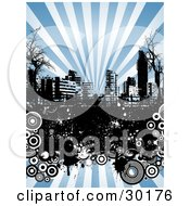 Clipart Illustration Of A Black And White Urban Skyline With Bare Trees Grunge And Circles Over A Background Of Rays Of Blue Light