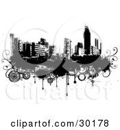 Clipart Illustration Of A Black And White City Skyline On Grunge With Drips And Circles