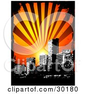 Clipart Illustration Of A Sun Shining Over A Black And White City Skyline Bordered By Black Grunge