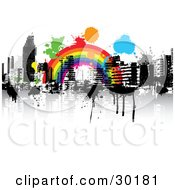 Clipart Illustration Of A Colorful Splatters Over A Rainbow Over A City Skyline