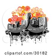 Clipart Illustration Of A Black And White Urban Skyline Over Grunge Circles On A Background Of Orange And Yellow Circles