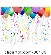 Clipart Illustration Of Colorful Helium Filled Balloons With Confetti And Streamers At A Party