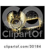 Clipart Illustration Of A Golden Winged Speaker On A Blank Black Text Box Bordered By Gold Grunge With Gray Circles On Black by KJ Pargeter
