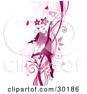 Clipart Illustration Of A Silhouetted Pink Woman Prancing And Dancing On A Background Of Vines Flowers And Butterflies by KJ Pargeter