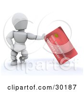 Clipart Illustration Of A White Character Standing And Leaning Against A Red Credit Card by KJ Pargeter