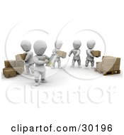 Clipart Illustration Of A Supervisor Taking Notes On A Team Of White Characters Stacking Boxes From One Pile To A Pallet by KJ Pargeter