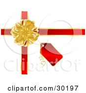 Golden Bow With Red Ribbons A Tag And Golden Hearts On A Gift