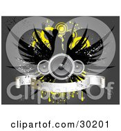 Clipart Illustration Of Three Speakers With Black Wings Over Silhouetted Dancers Yellow Circles And Grunge With A Blank Banner On A Gray Background