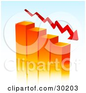 Clipart Illustration Of An Arrow Curving Downwards With An Orange Bar Graph Depicting Loss And Debt by KJ Pargeter