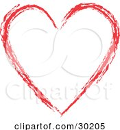Red Painted Heart Outline Over White