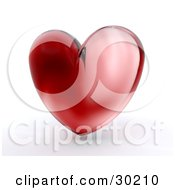 Shiny Red Glass Heart Over White