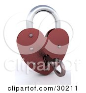Clipart Illustration Of A Key Unlocking A Red Heart Padlock