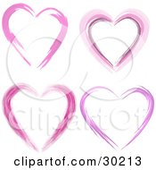 Clipart Illustration Of A Set Of Four Pink And Purple Hearts Made Of Paint Strokes