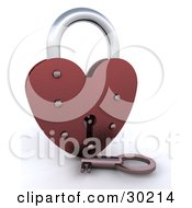 Clipart Illustration Of A Key Resting In Front Of A Red Heart Padlock