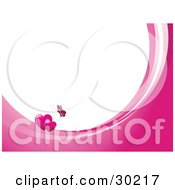 Clipart Illustration Of A Pink Butterfly Above Two Hearts On Waves Of Pink And White Around White With Space For Text Or A Business Name