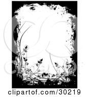 Clipart Illustration Of Black Silhouetted Plants Grasses And Grunge Around A White Background