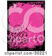 Clipart Illustration Of A Pink Grunge Background With Splatters Bordered By Grunge Marks And Vines