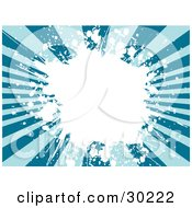 Clipart Illustration Of A Background Of Dark And Light Blue Rays With A Big White Grunge Splatter In The Center by KJ Pargeter