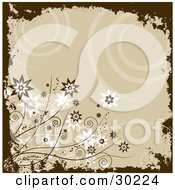 Clipart Illustration Of A Beige Background Of Spirals Bordered By Brown Grunge And Brown And White Flowers