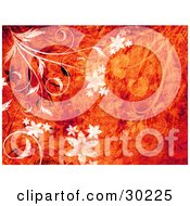 Clipart Illustration Of White And Black Flowers And Vines With Grunge Textures Over A Red And Orange Background