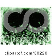 Clipart Illustration Of A Black Background Bordered By Green And White Grunge With Green Leaves Along The Bottom