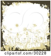 Clipart Illustration Of A Brown And Tan Grunge Border With Flowers Framing White