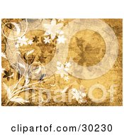 Clipart Illustration Of White And Brown Flowers On A Yellow Grunge Textured Background