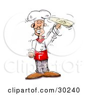 Clipart Illustration Of A Smiling Male Chef Spinning Pizza Dough On Top Of His Hand by Spanky Art