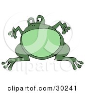 Clipart Illustration Of A Big Green Bullfrog Leaping And Suspended In Mid Air