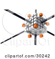 Clipart Illustration Of A White Cube Consisting Of White And Orange Cubes The Orange Ones Floating Away Connected By Black Bars by Tonis Pan
