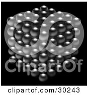 Clipart Illustration Of A Cube Of Silver Balls Forming A Cube On A Black Background