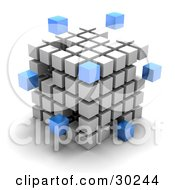Clipart Illustration Of Blue Cubes Floating Outside A Large Cube Created With White Cubes Symbolizing Leadership And Individuality by Tonis Pan #COLLC30244-0042