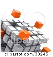 Clipart Illustration Of Orange Cubes Floating Outside A Large Cube Created With White Cubes Symbolizing Leadership And Individuality by Tonis Pan #COLLC30245-0042